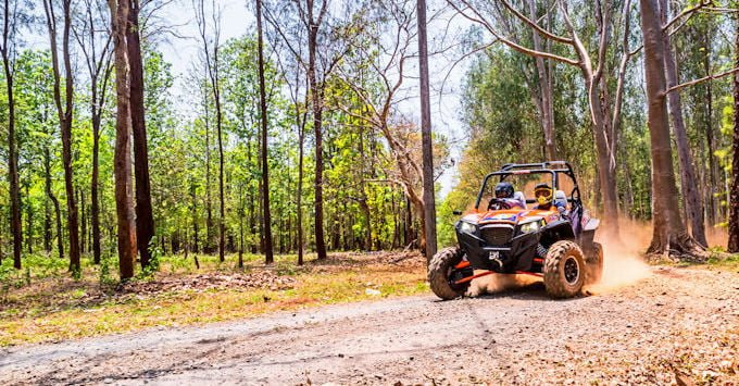 A UTV driving through the woods